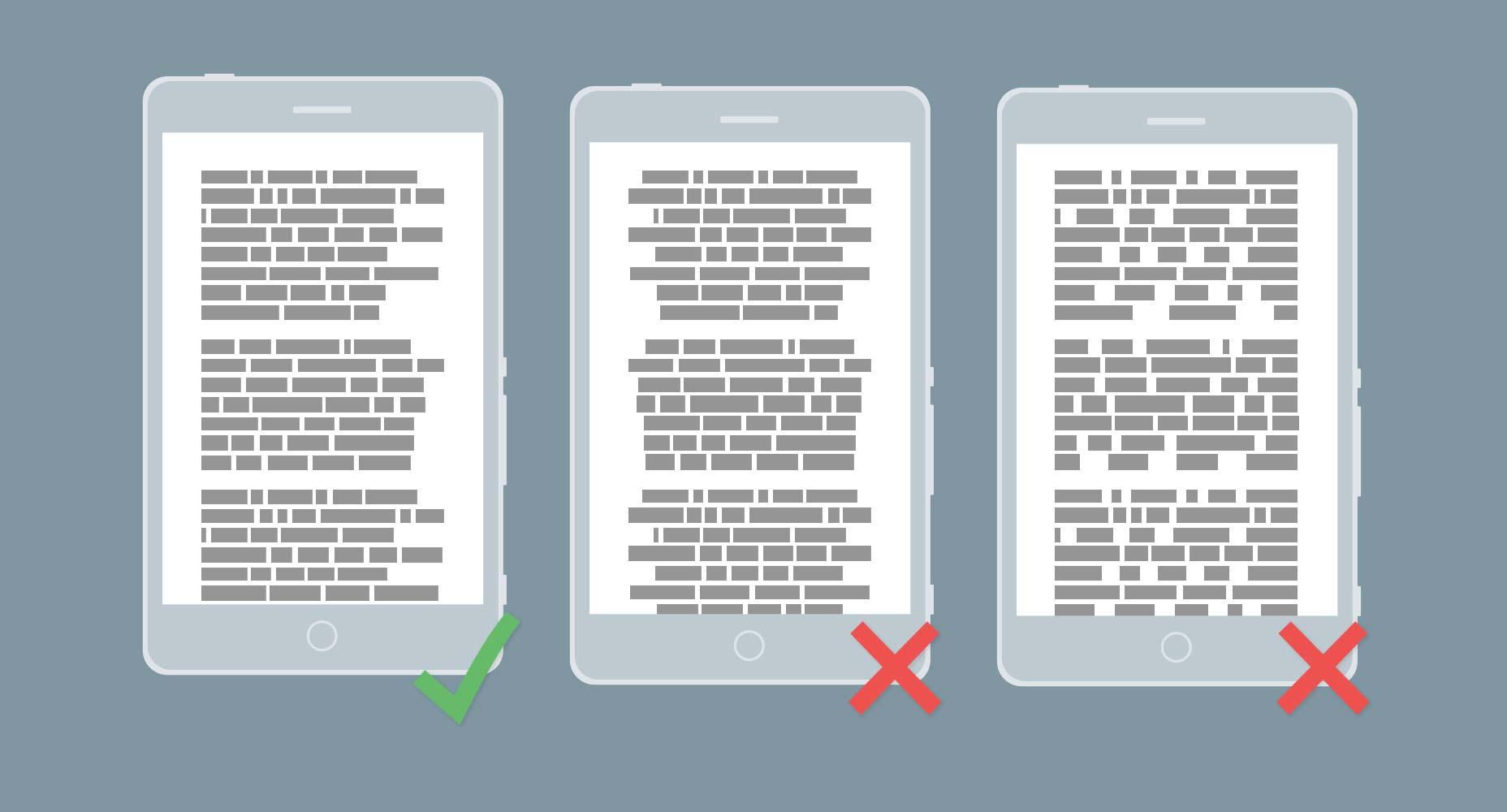 typography mobile gsite allineamento