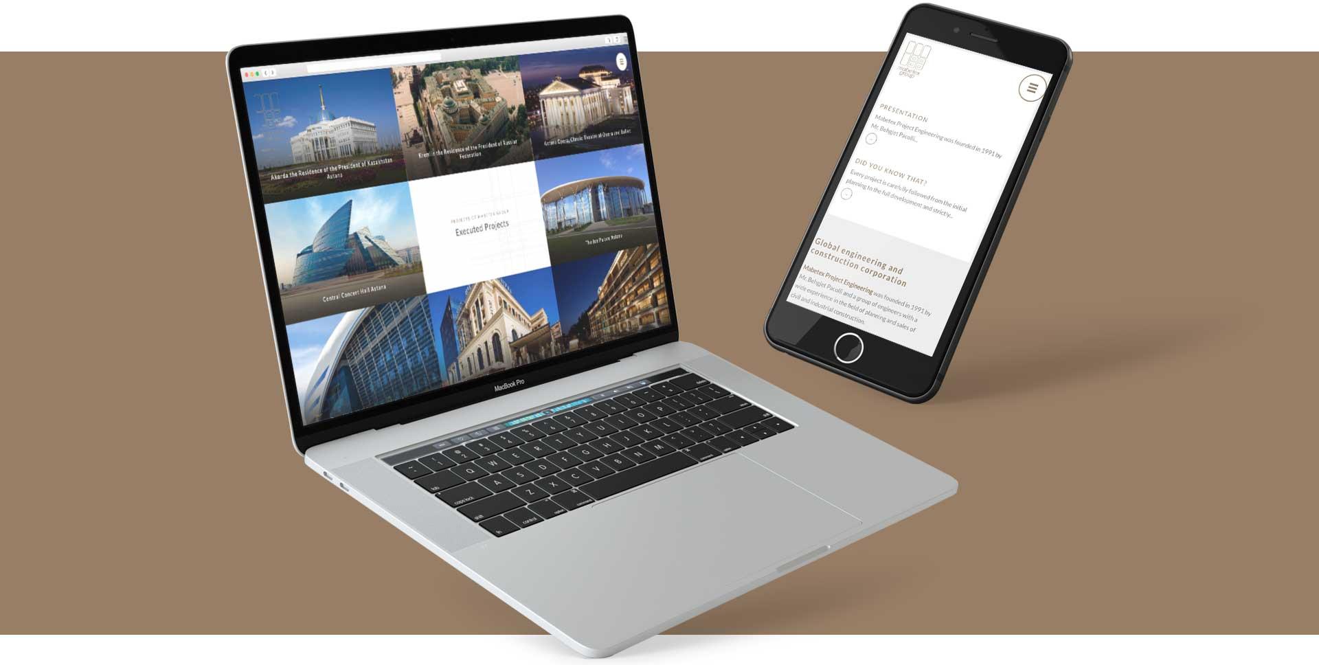 GSite web agency progetti mabetex mockup