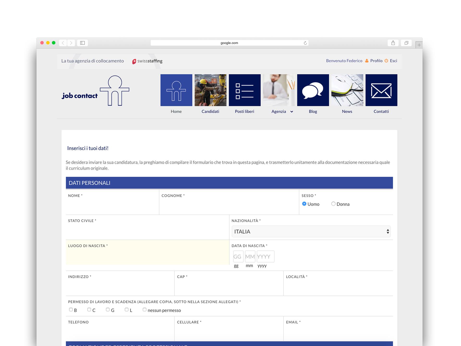 Job Contact form browser