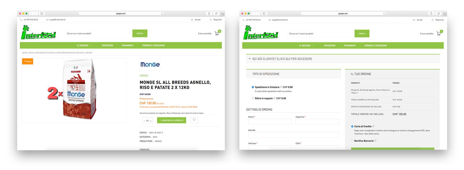 GSite Progetti Ecommerce Interfood Schermate prodotto e acquisto
